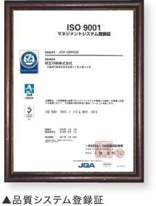 品質システム登録証
